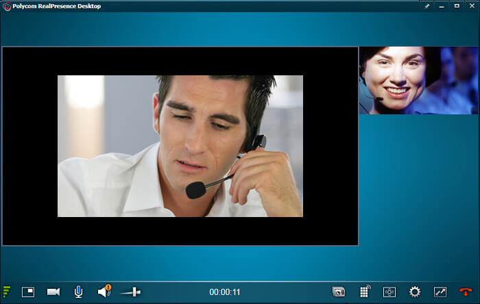 Video call on Polycom side
