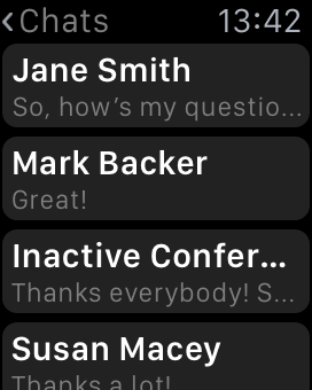 Get more features with TrueConf on Apple Watch 3