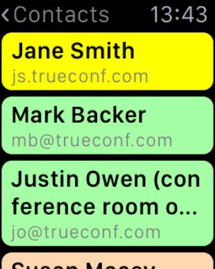 Get more features with TrueConf on Apple Watch 2