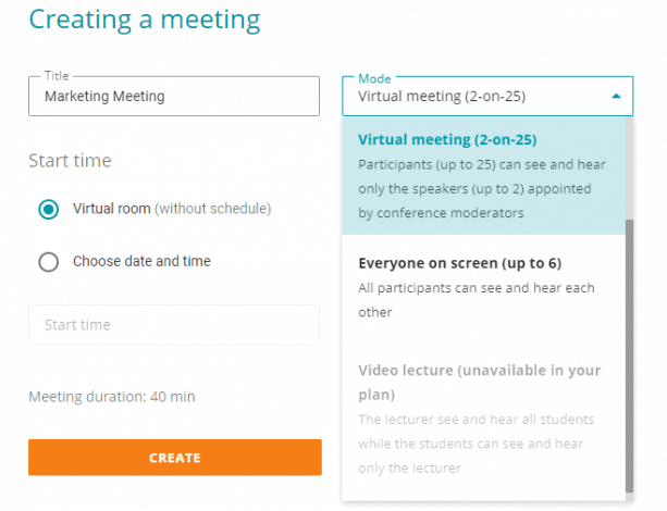 Creating a meeting using TrueConf Online