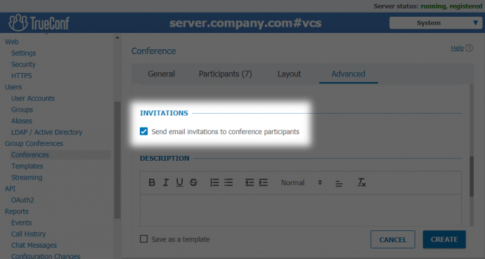 Send invitations TrueConf Server
