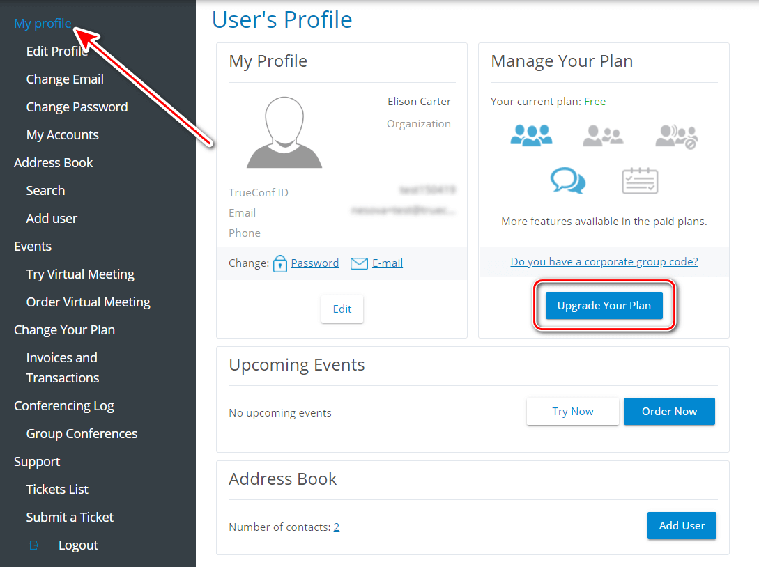 How to manage TrueConf Online user account 5