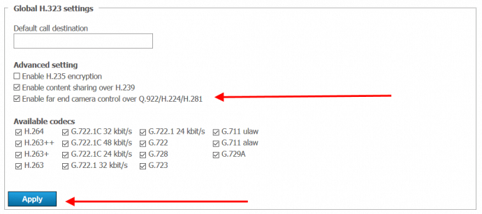 How to allow remote control of SIP/H.323 endpoint cameras via TrueConf Server 2