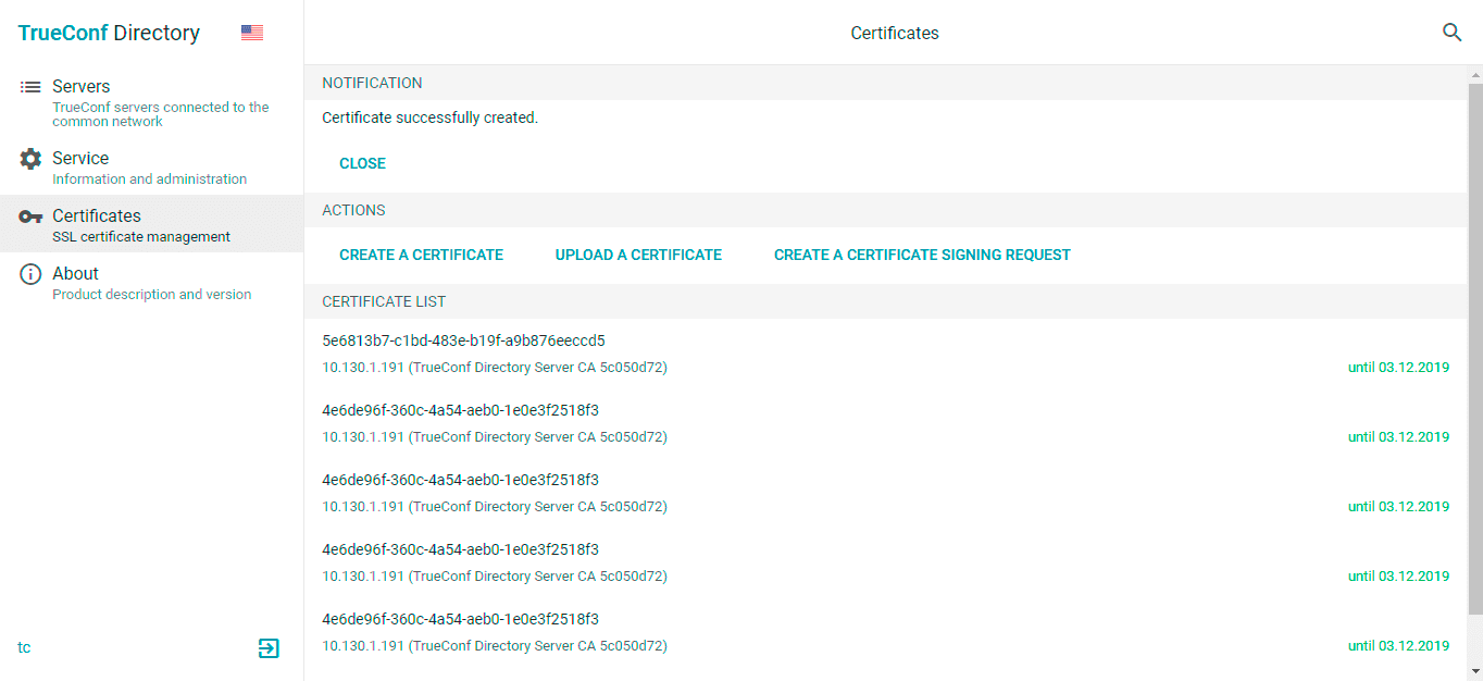 New Features of Admin Panel: Certificates