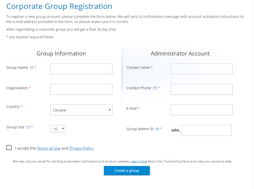 How to create corporate group in TrueConf Online 2