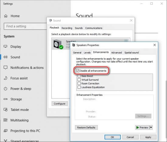 Disable enhancements to remove background noise