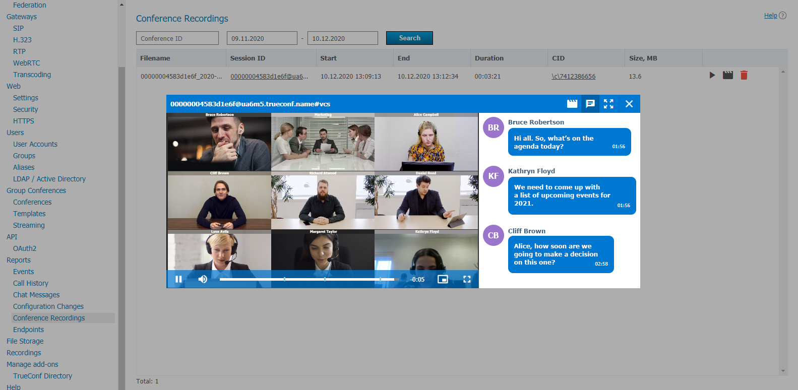 TrueConf Server 4.7: Meeting highlight reel and individual layouts for SIP/H.323 devices 4