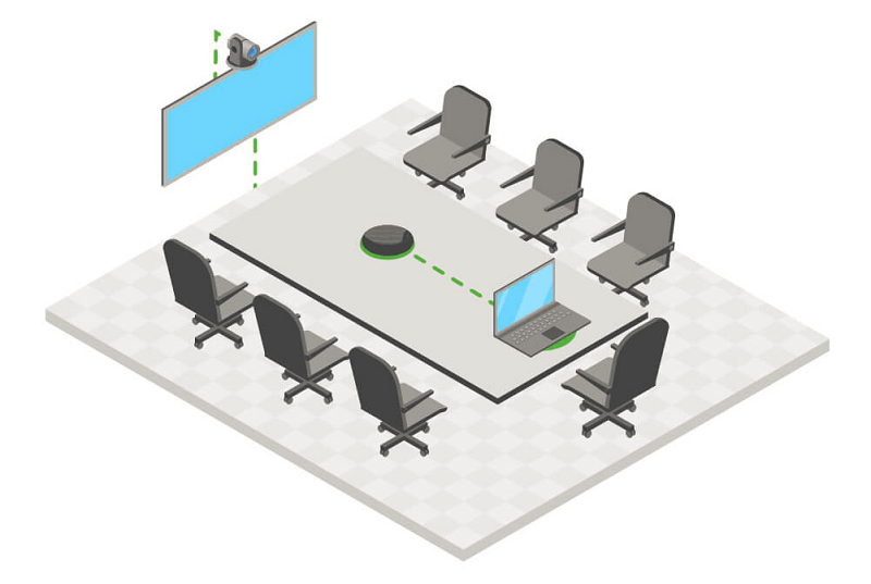 Medium-sized meeting room for 6-8 participants