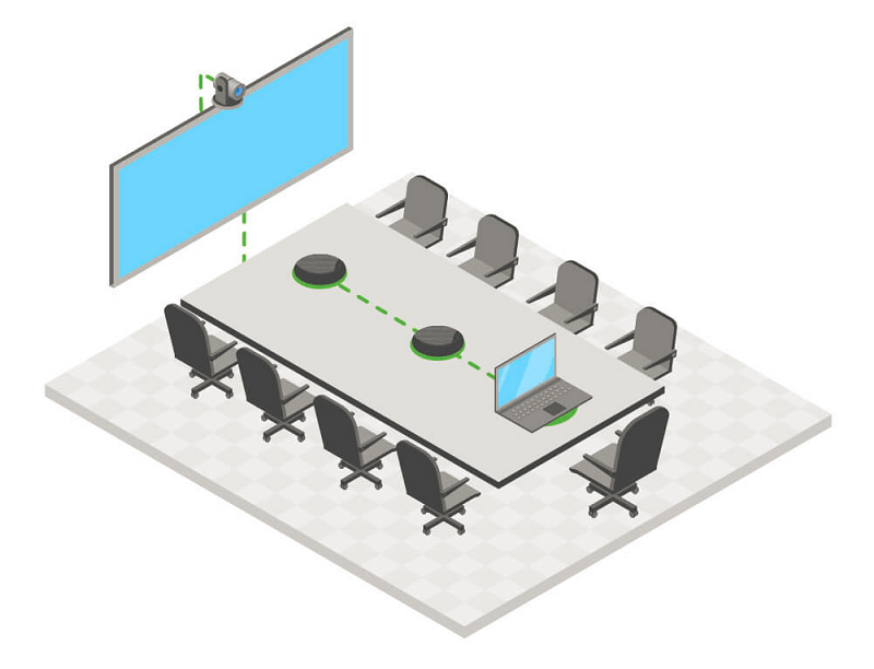 Middle-sized meeting room for 8 participants