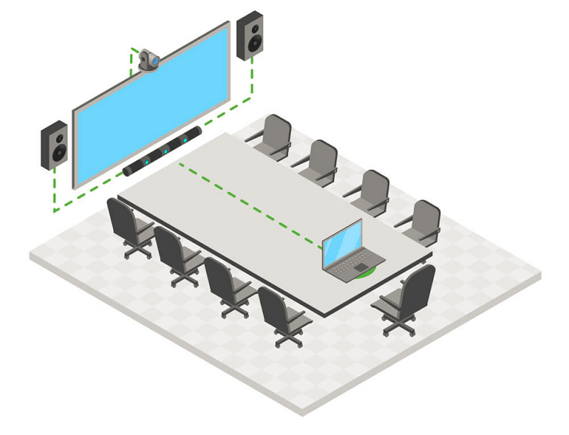 Middle-sized meeting room with microphone array